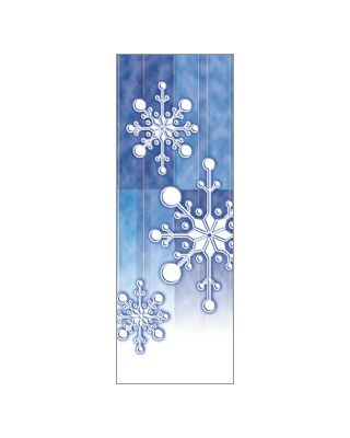 30 x 60 in. Holiday Banner Torn Paper Snowflake Blue Fabric