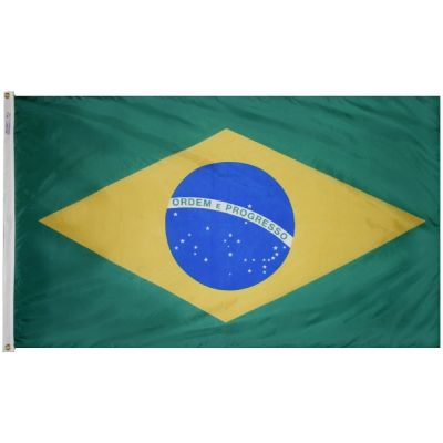 4ft. x 6ft. Brazil Flag w/ Line Snap & Ring