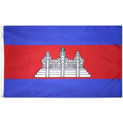 4ft. x 6ft. Cambodia Flag w/ Line Snap & Ring