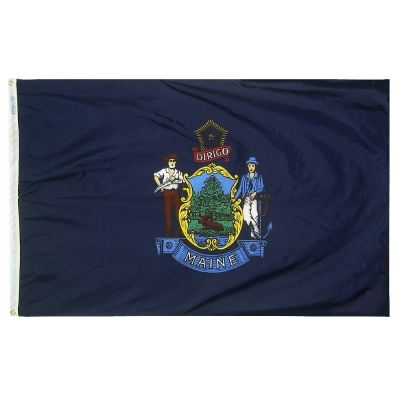4ft. x 6ft. Maine Flag w/ Line Snap & Ring
