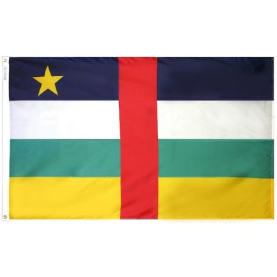 4ft. x 6ft. Central African Republic Flag w/ Line Snap & Ring