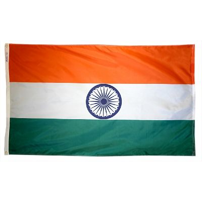 4ft. x 6ft. India Flag with Brass Grommets