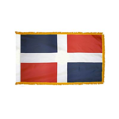 2ft. x 3ft. Dominican Republic Flag No Seal Fringed Indoor Display