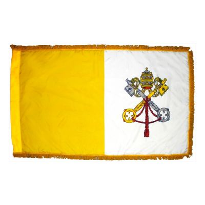 3ft. x 5ft. Papal Flag for Parades & Display with Fringe
