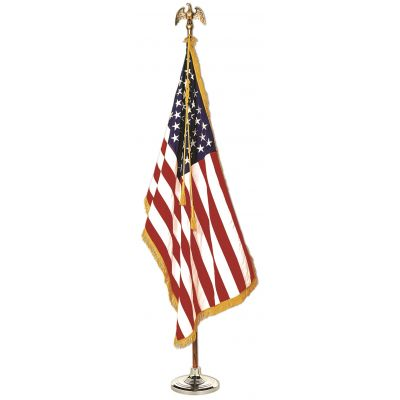 4ft. x 6ft. U.S. Indoor Flag Display Set w/Gold Fringe