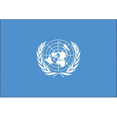 4ft. x 6ft. United Nations Flag for Parades & Display White Fringed