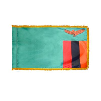 2ft. x 3ft. Zambia Flag Fringed for Indoor Display