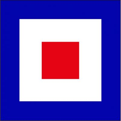 Size 8 Letter W Signal Flag with Line Snap and Ring