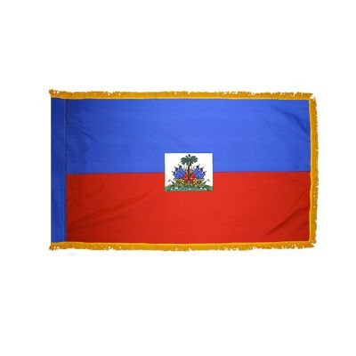 2ft. x 3ft. Haiti Flag Seal Fringed for Indoor Display