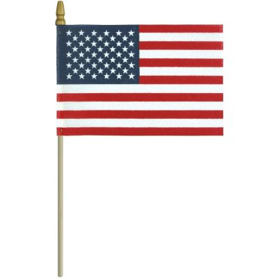No-Fray United States Flag with Gold Spear Top