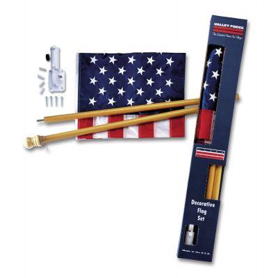 2-1/2 ft. x 4 ft. Nylon U.S. Flag and Pine Wood Pole Set
