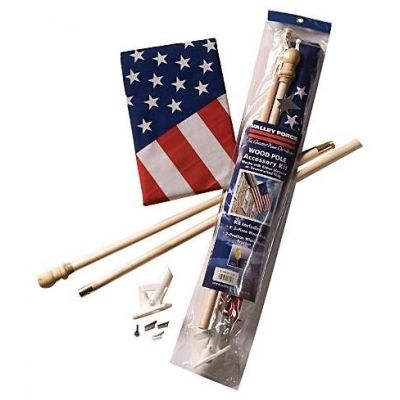 2-1/2 ft. x 4 ft. Poly/Cotton U.S. Flag with Wood Pole Set