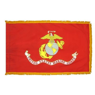 4.4ft. x 5.6ft. Marine Corps Flag DBL Indoor Display with Fringe