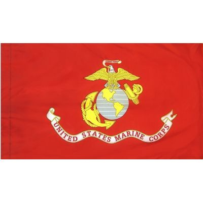 5ft. x 8ft. Marine Corps Flag DBL Indoor Display with Fringe