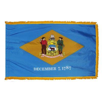 3ft. x 5ft. Delaware Flag Fringed for Indoor Display