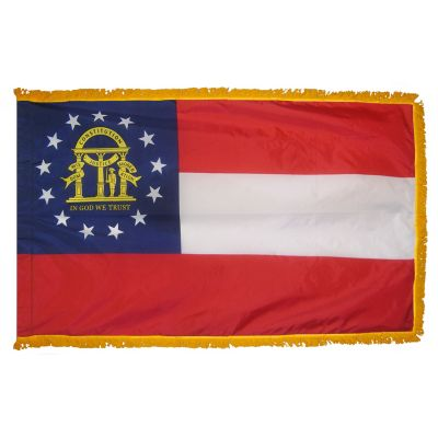 3ft. x 5ft. Georgia Flag Fringed for Indoor Display