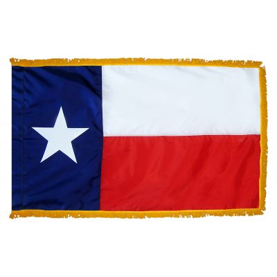 4 x 6 ft. Texas Flag Sewn Fringed for Indoor Display