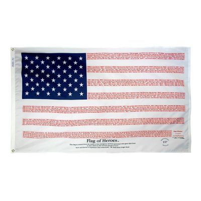3 x 5 ft. Flag of Heroes Poly/Cotton Fabric