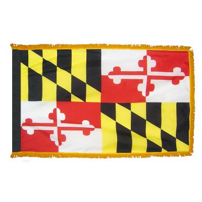 2ft. x 3ft. Maryland Flag Fringed for Indoor Display