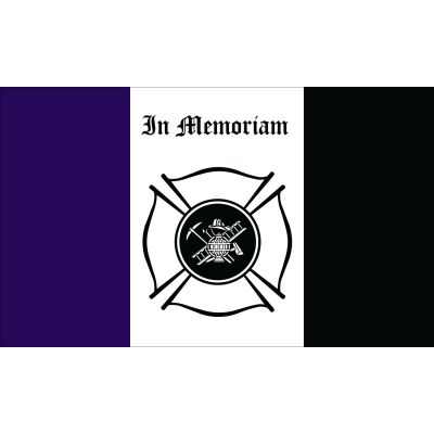 3 x 5 ft. Fireman Mourning Flag Outdoor Use
