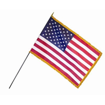 12 in. x 18 in. U.S. Flags Classroom with Fringe-12 Pack