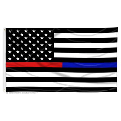 3ft. x 5ft. Thin Red & Blue Line Dual US Flag