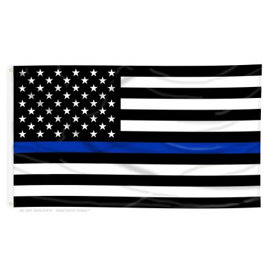 3ft. x 5ft. Thin Blue Line US Flag Poly Sheeting