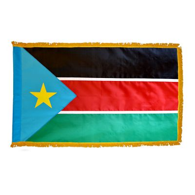 2 ft. x 3 ft. South Sudan Flag Fringed for Indoor Display