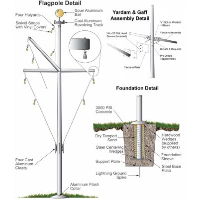 Fiberglass Nautical Single Mast Flagpole with Yardarm/Gaff