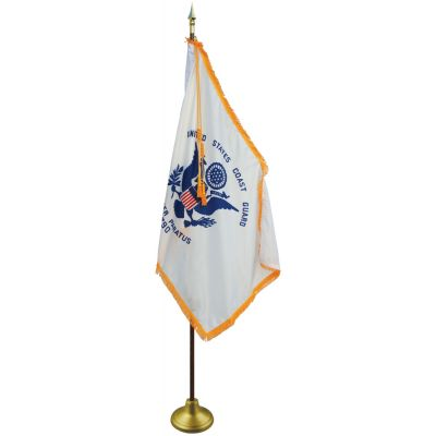 4 x 6ft. Coast Guard Flag Indoor Display Set with Gold Fringe