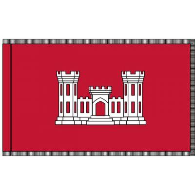 3ft. x 5ft. U.S. Army Corps of Engineer Flag with Pole Sleeve & White Fringe