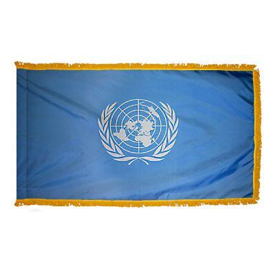 4ft. x 6ft. United Nations Flag with Side Pole Sleeve w/ Gold Fringe
