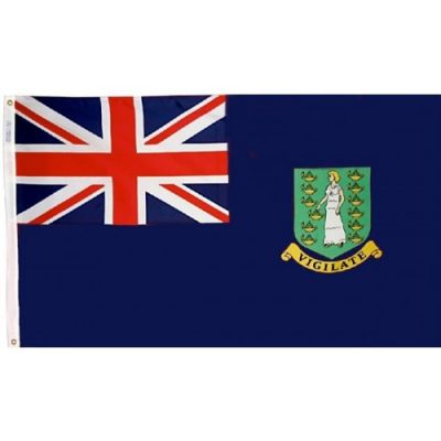 12 in. x 18 in. British Virgin Island Blue Flag w/ Heading & Grommets