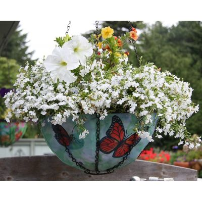 Butterfly Hanging Planter with flowers