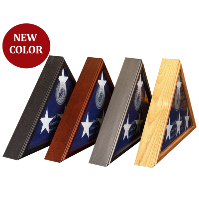 4 Different Colors of the Veteran Flag Display Case
