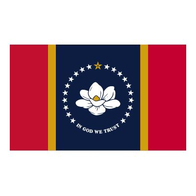 12 in. x 18 in. New Mississippi Flag with Header & Grommets