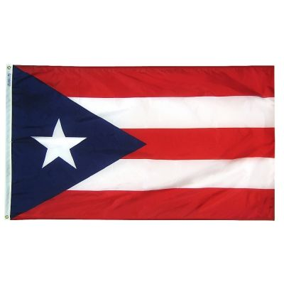 Size 8 Puerto Rico Flag Nylon with Canvas Header & Brass Grommets