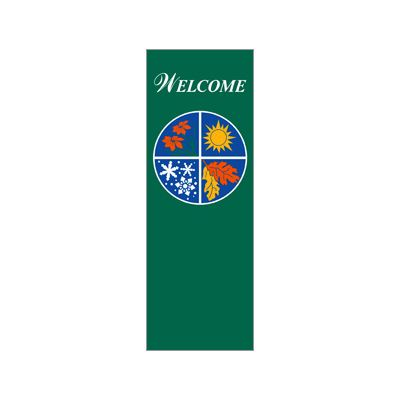 30 x 84 in. Seasonal Banner Four Seasons Green Fabric