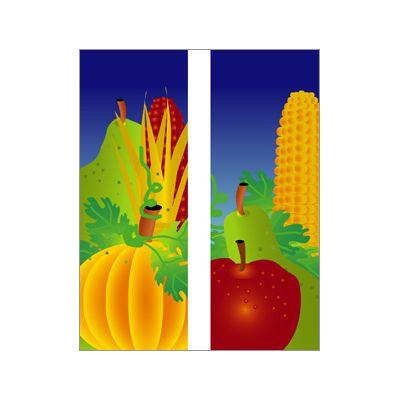 30 x 84 in. Seasonal Banner Fall Fruit Corn & Pumpkin-Double Sided