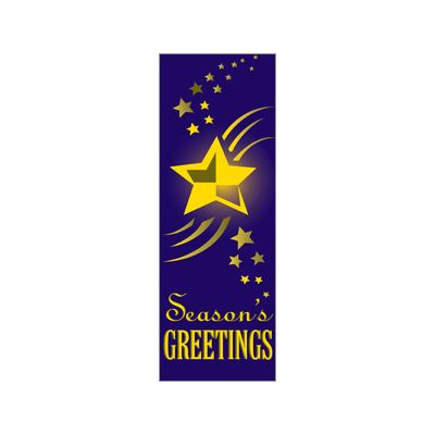 30 x 84 in. Holiday Banner Star Season Greetings Purple Fabric