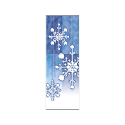 30 x 84 in. Holiday Banner Torn Paper Snowflake Blue Fabric