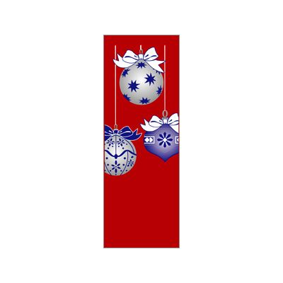 30 x 84 in. Holiday Banner Blue & Silver Ornaments Red Fabric