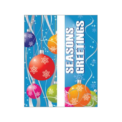 30 x 60 in. Holiday Banner Colorful Ornaments-Double Sided Design