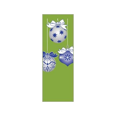 30 x 96 in. Holiday Banner Blue & Silver Ornaments Green Fabric